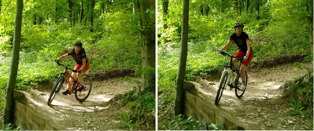Split pic of mountain bike cornering
