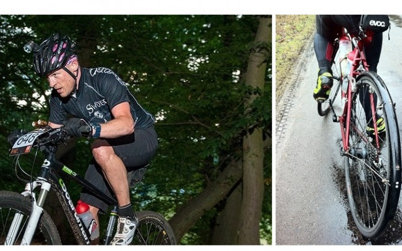 split image of andrew riding aa mountain bike nd his road bike