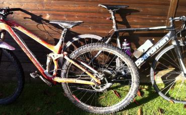 split image of Ed's mountain bike and road bike