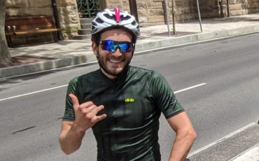 cyclist, smiling
