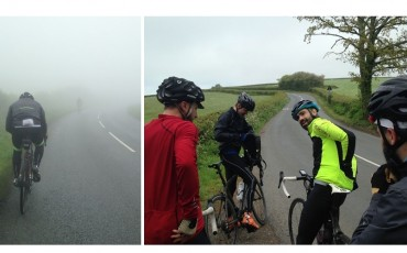 split image of cyclist riding in rain and cycling group