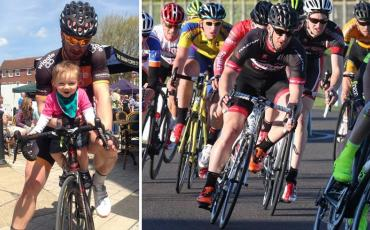 Split image of Pete Kitching with his daughter and during a race