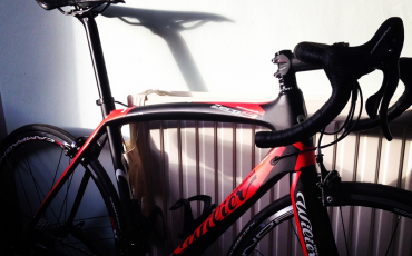 Photo of Peter's Wilier Zero 9 perched against a radiator