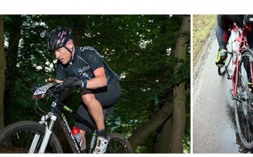 split image of andrew riding aa mountain bike nd his road bike