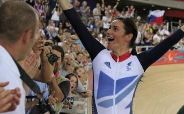 Dame Sarah Storey celebrating at the London 2012 Olympics